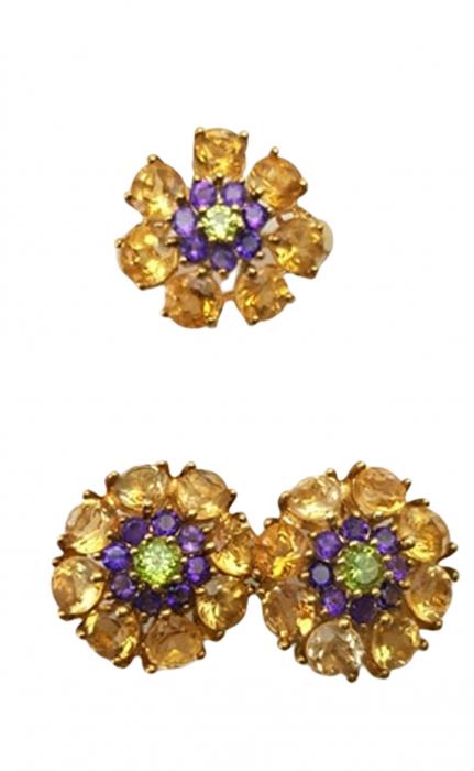 Set cercei si inel , Argint 925, lucrat manual, aurit cu aur galben, cu pietre naturale: citrin, ametist, peridot. [0]