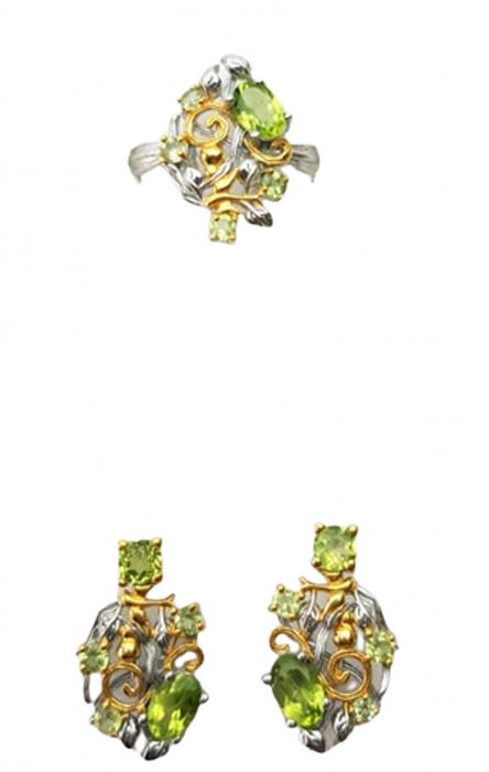 Set cercei si inel ,de mici dimensiuni, Argint 925, lucrat manual, aurit cu aur alb si galben, cu pietre naturale: peridot. [1]