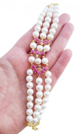 Bratara perle naturale si rubin [2]