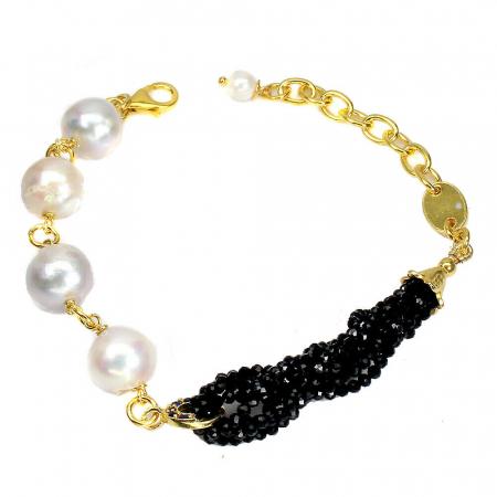 Bratara argint spinel negru perla safir [0]