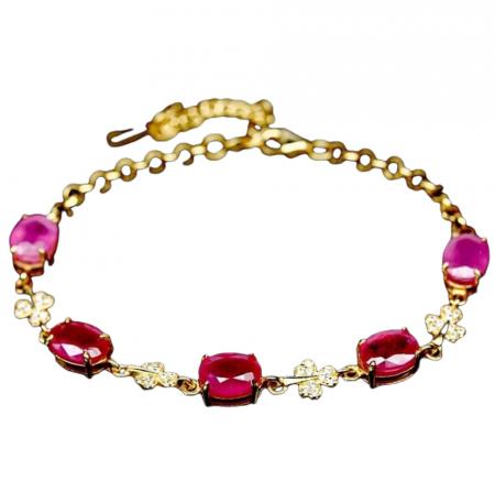 Bratara, Argint 925, lucrata manual, aurita cu aur galben, cu pietre naturale: rubin (tratat);cz. Inchidere tip lobster. [1]
