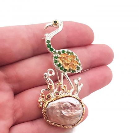 Brosa argint perla baroca [2]