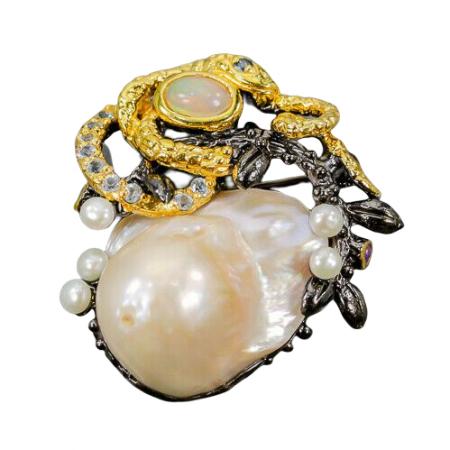 Brosa argint perla baroca [1]