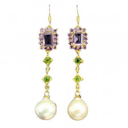 Cercei argint ametist si perle naturale [0]