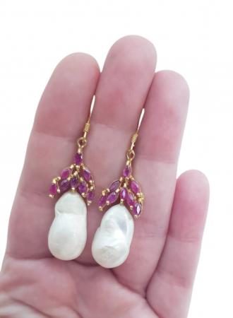 Cercei argint rubin perla [2]