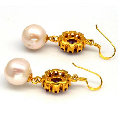 Cercei argint perle si ametist [1]