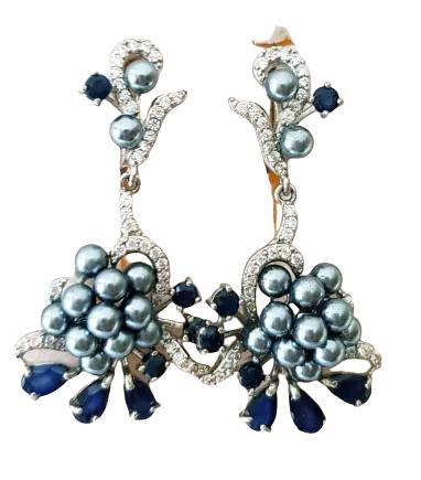 Cercei Argint cu pietre naturale safir si perle [3]