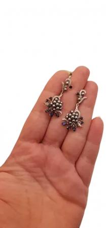 Cercei Argint cu pietre naturale safir si perle [1]