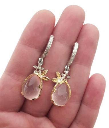Cercei argint cuart roz [2]