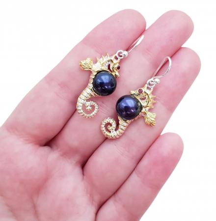 Cercei argint perle si granat [2]