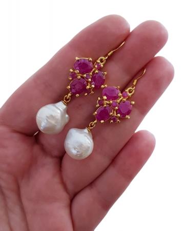 Cercei argint perla rubin [2]
