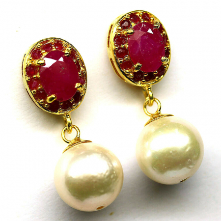 Cercei argint perle rubin [1]
