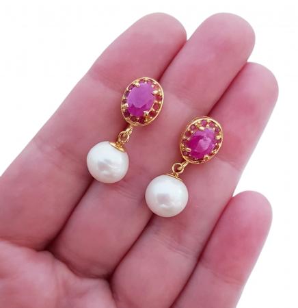 Cercei argint perle rubin [3]
