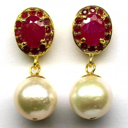 Cercei argint perle rubin [0]