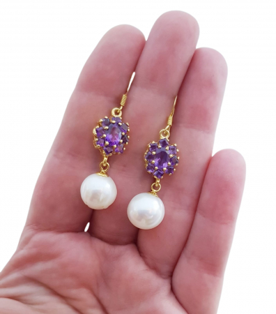 Cercei argint perle si ametist [2]