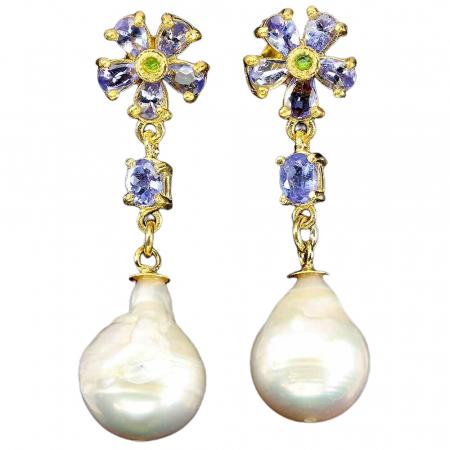 Cercei argint tanzanit crom-diopsid perla [0]