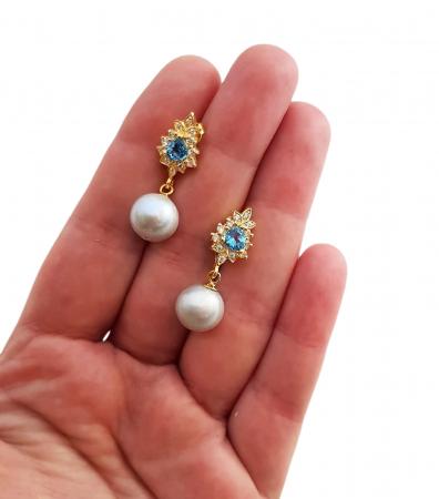 Cercei perle naturale si swiss topaz [2]