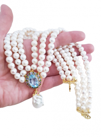 Colier perle naturale si topaz [2]