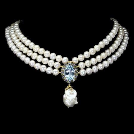 Colier perle naturale si topaz [0]