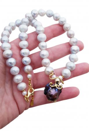 Colier argint perle  baroce [2]