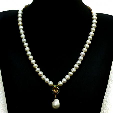 Colier perle naturale si citrin [0]