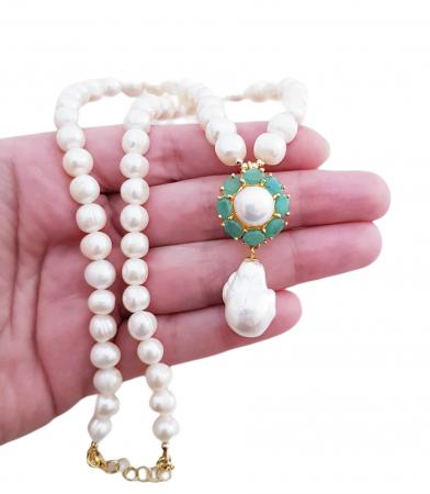 Colier argint perle smarald [2]
