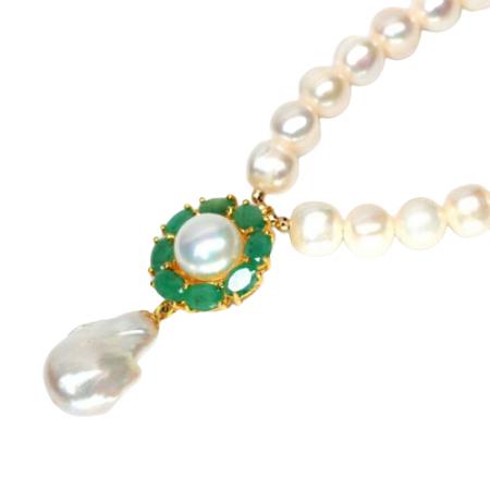 Colier argint perle smarald [1]