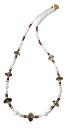 Colier cu pietre semipretioase cuarț, rubin si perle [1]