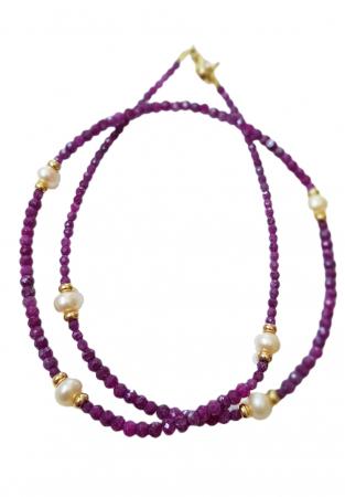 Colier cu rubin natural si perle [1]