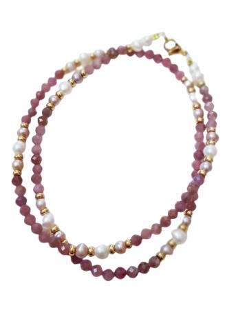 Colier cu safir roz(corundum) si perle1