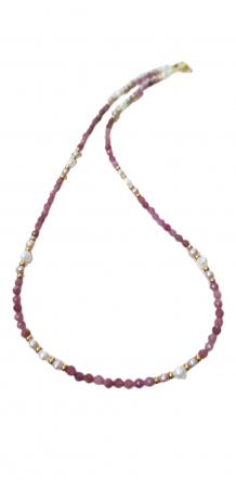 Colier cu safir roz(corundum) si perle0