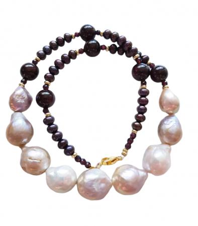 Colier perle Kasumi si granat2