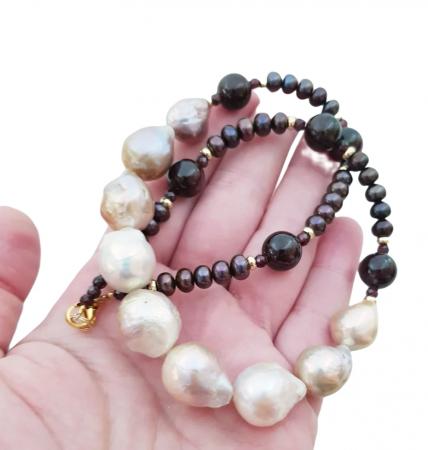 Colier perle Kasumi si granat3