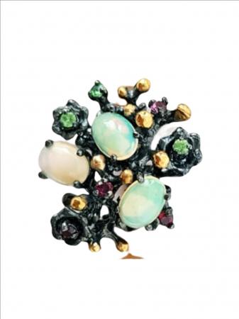 Inel Argint cu pietre semipretioase opal, granat [1]