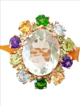 Inel Argint cu pietre semipretioase ametist verde [0]