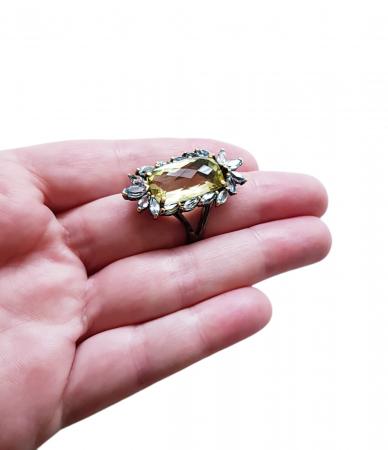 Inel argint cuarț lemon și topaz [1]