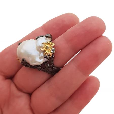 Inel argint perla baroca [3]
