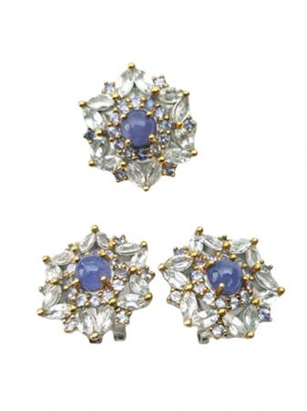 Set cercei si inel de mari dimensiuni , Argint 925, lucrat manual, aurit cu aur alb si galben, cu pietre naturale: acvamarin si tanzanit. [0]