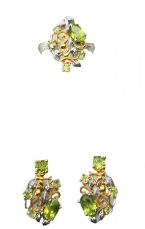Set cercei si inel ,de mici dimensiuni, Argint 925, lucrat manual, aurit cu aur alb si galben, cu pietre naturale: peridot. [0]
