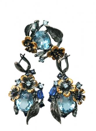 Set cercei si inel , Argint 925, lucrat manual, aurit cu aur galben si negru, cu pietre naturale: topaz, kyanite, safir. [1]