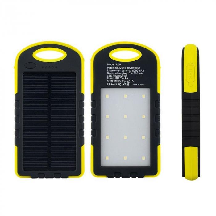 Baterie extern Powerbank cu incarcare solara si lanterna 5000mAh 0