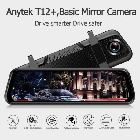 "CAMERA VIDEO AUTO TIP OGLINDA DUBLA, ANYTEK T12+, DISPLAY 9.66"" TOUCH SCREEN, NIGHT VISION, DASH CAM, DUAL LENS 11"