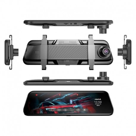 "CAMERA VIDEO AUTO TIP OGLINDA DUBLA, ANYTEK T12+, DISPLAY 9.66"" TOUCH SCREEN, NIGHT VISION, DASH CAM, DUAL LENS 12"