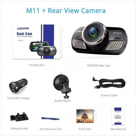 "CAMERA VIDEO AUTO AZDOME M11, DVR FULLHD 1080P, DISPLAY 3"" IPS, UNGHI 170°, SUPER NIGHT VISION 6"