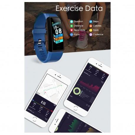 "Bratara Fitness Smartband Techstar® T12 Waterproof IP65, Bluetooth 4.2, Compatibila Android & IOS, Display TFT 1.14"", Albastru [4]"