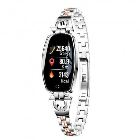 Bratara Smart Fitness Sport Argintie Waterproof Si Eleganta Pentru Dama H8 Cu Monitorizare Somn Si Cardiaca [4]