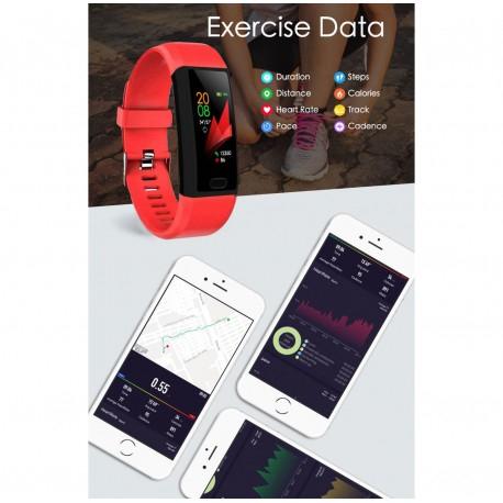 "Bratara Fitness Smartband Techstar® T12 Waterproof IP65, Bluetooth 4.2, Compatibila Android & IOS, Display TFT 1.14"", Rosu 4"