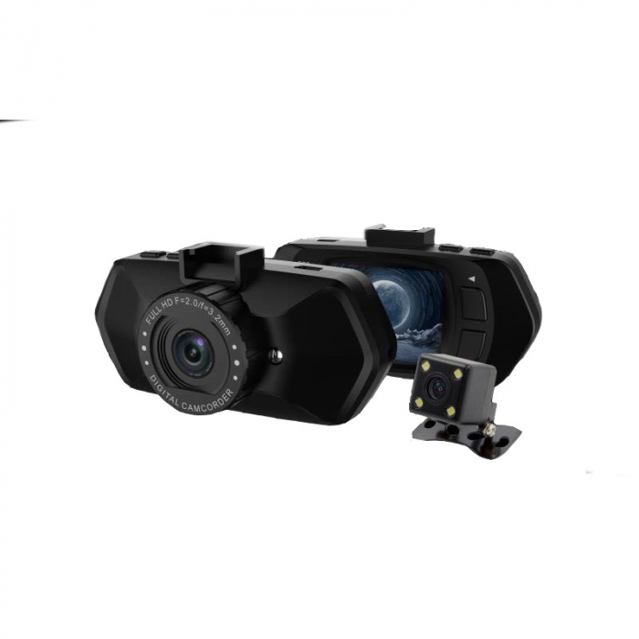 "Camera Video Auto Dubla, Obiectiv 120° Superangular FullHD 1080p Techstar® RLDV 204, Ecran 2"" 0"