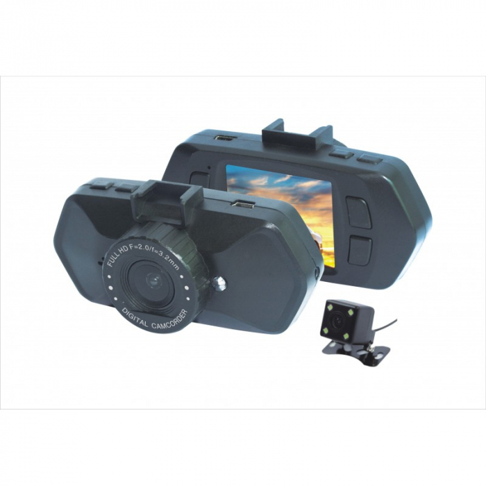 "Camera Video Auto Dubla, Obiectiv 120° Superangular FullHD 1080p Techstar® RLDV 204, Ecran 2"" 5"