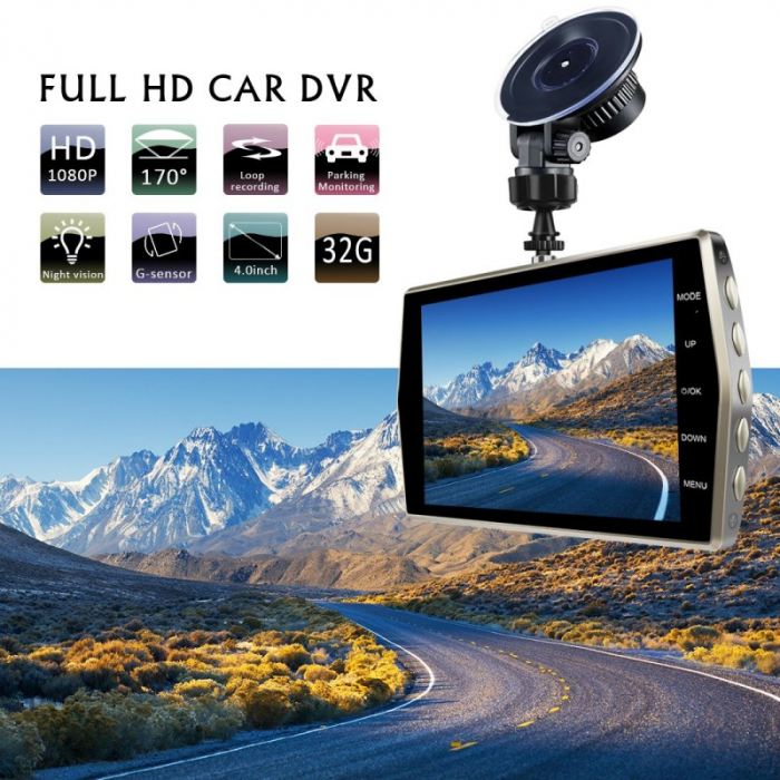"Camera Video Auto DVR Dubla FullHD Techstar® T667 Unghi 170° Display 4"" 3"